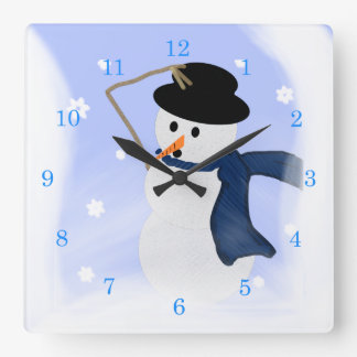 Snowman in the Wind Wall Clock