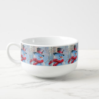 Snowman in the Woods Soup Bowl With Handle