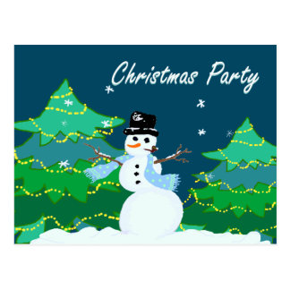 Snowman in Woods Christmas Party Invitations Postcard
