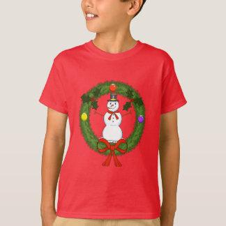 Snowman in Wreath Boys T-Shirt