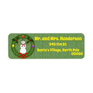 Snowman in Wreath Return Address Labels
