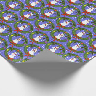 Snowman in Wreath & Snow Christmas Wrapping Paper