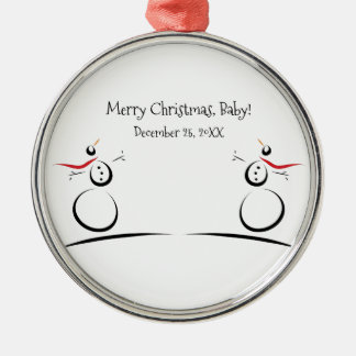 SNOWMAN JOY Baby's First Christmas Silver-Colored Round Decoration