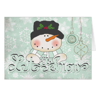 Snowman Let it Snow Christmas Greeting Card
