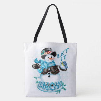 SNOWMAN LET IT SNOW CUTE CARTOON TOTE BAG
