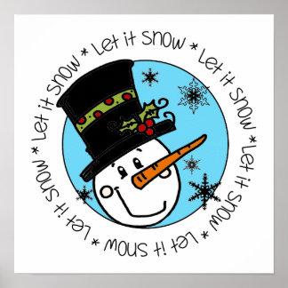 Snowman Let It Snow Poster