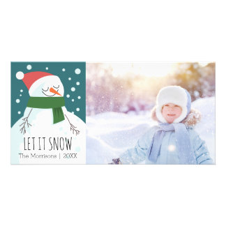 Snowman Let it Snow Whimsical Holiday Photo Photo Cards