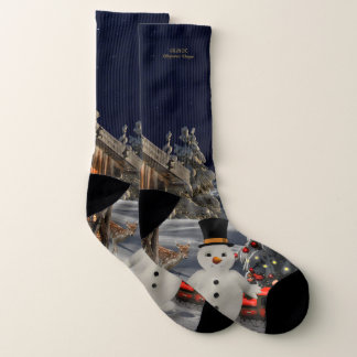 "Snowman ""Merry Christmas"" All-Over-Print Socks 1"