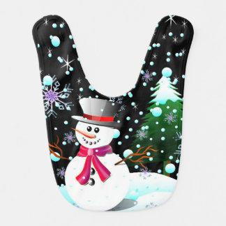 Snowman merry Christmas Bib