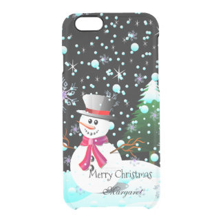 "Snowman ""Merry Christmas"" personalised Clear iPhone 6/6S Case"