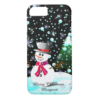 """Snowman """"Merry Christmas"""" personalised iPhone 8/7 Case"""