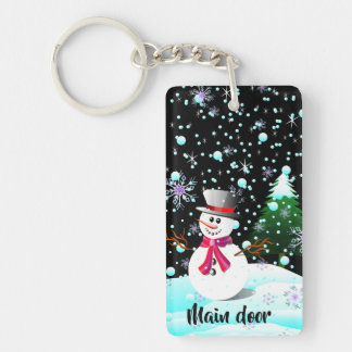 "Snowman ""Merry Christmas"" personalised Key Ring"