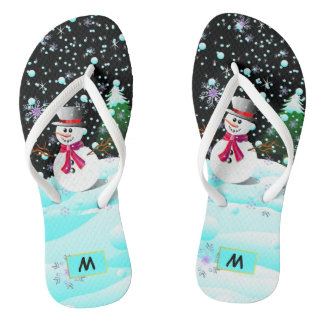"Snowman ""Merry Christmas"" personalised monogram Thongs"
