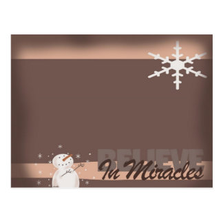 Snowman Miracle Christmas Magnet Postcard