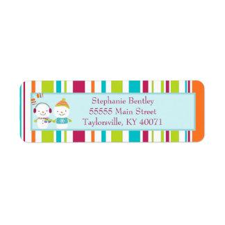 Snowman Mittens Christmas Return Address Label