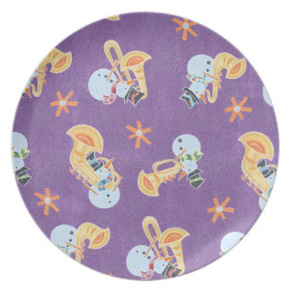 Snowman Musicians Making Christmas Holiday Music Dinner Plate