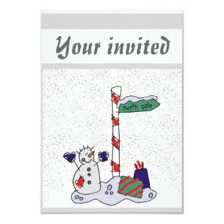 """Snowman & North Pole - 3.5"""" X 5"""" Invitation Card"""