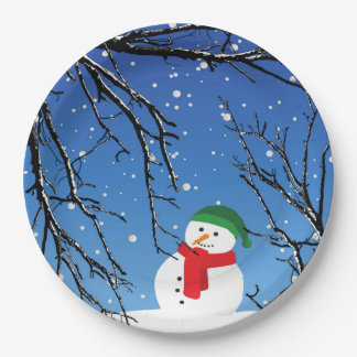 Snowman on a Cold, Snowy Day Paper Plate