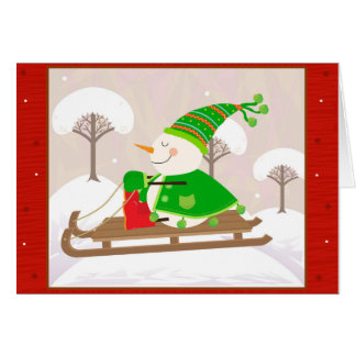 Snowman on a sled card