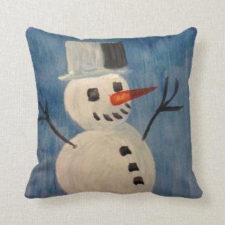 Snowman on Blue Cushion