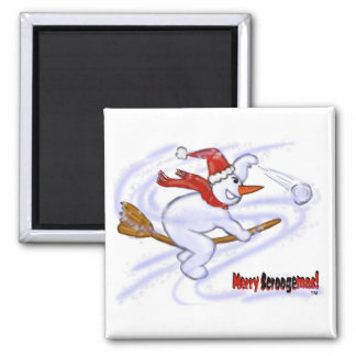 Snowman On Broom Magnet