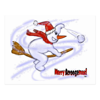 Snowman On Broom Throwing Snowball Postcard