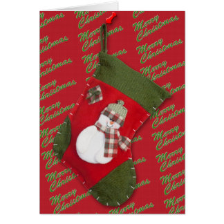 Snowman on Christmas Stocking Over Red Card