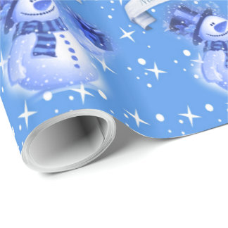 Snowman on Frosty Blue Pattern Wrapping Paper