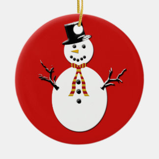 Snowman on Green and Red Ceramic Ornament