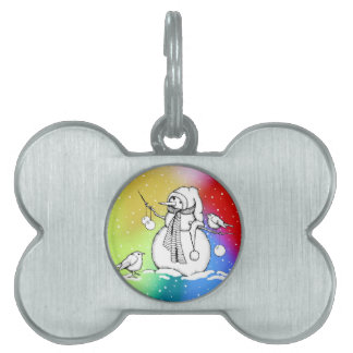 Snowman on Multi-Colored Background, Snowflakes Pet Tag
