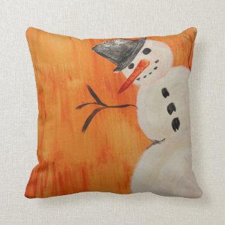 Snowman on Orange Cushion