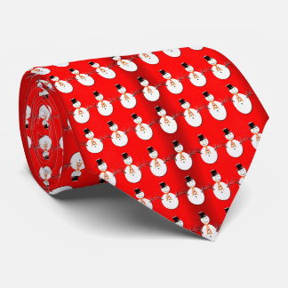 Snowman on Red Tie