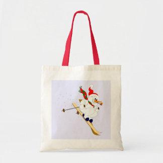 Snowman On Skis Budget Tote Bag