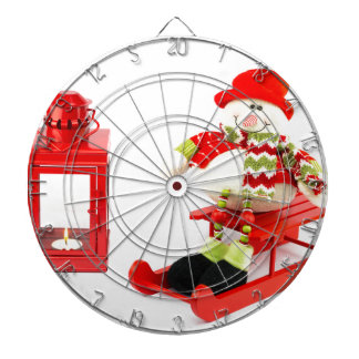 Snowman on sleigh with red lantern dartboard
