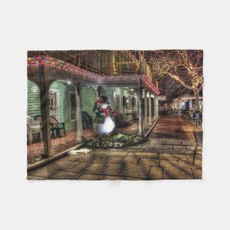 Snowman on the Porch in Winter Wonder Land Fleece Blanket