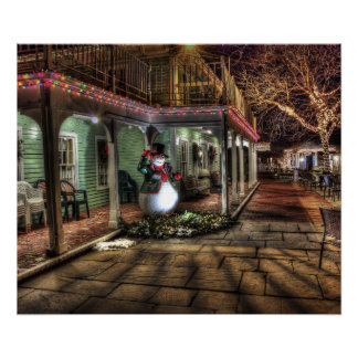 Snowman on the Porch in Winter Wonder Land Poster