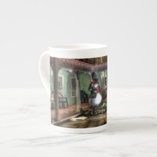 Snowman on the Porch in Winter Wonder Land Tea Cup