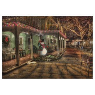 Snowman on the Porch in Winter Wonder Land Wood Poster