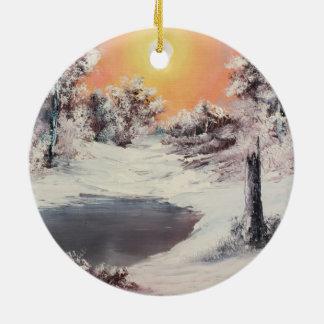 Snowman online round ceramic decoration