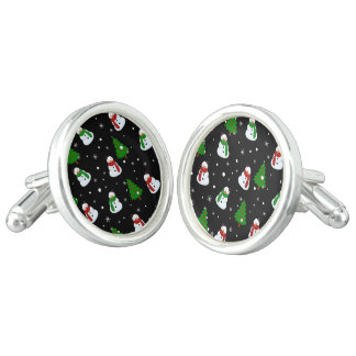Snowman pattern cuff links
