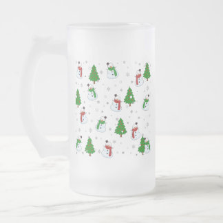 Snowman pattern frosted glass beer mug
