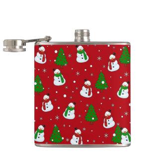 Snowman pattern hip flask