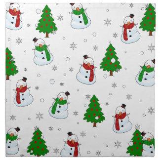 Snowman pattern napkin