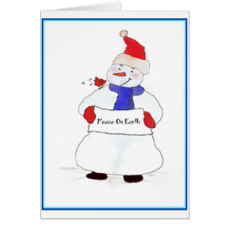 Snowman Peace On Earth Greeting Cards