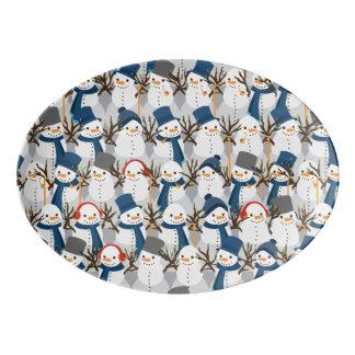 Snowman Pile Porcelain Serving Platter