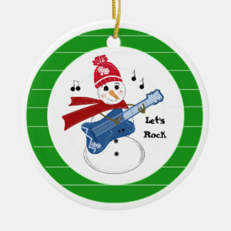 Snowman Playing Electric Rock Guitar Ceramic Ornament