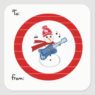 Snowman Playing Guitar Square Sticker