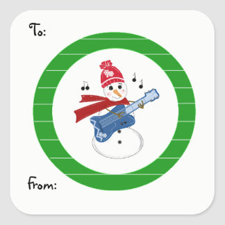 Snowman Playing Rock Guitar Square Sticker