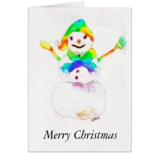 Snowman, Rainbow, Xmas, Merry Christmas cards