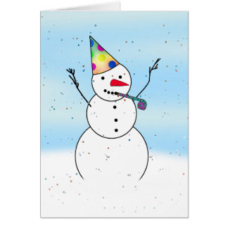 Snowman Ready For A Party! Card